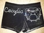 Personalised shorts with a bulldog